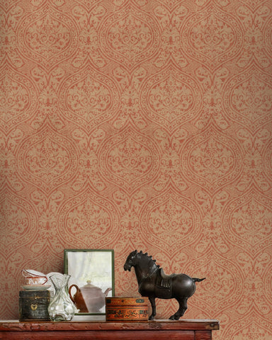 Damask Wallpaper in Beige and Red from the Eclectic Collection by Mind the Gap