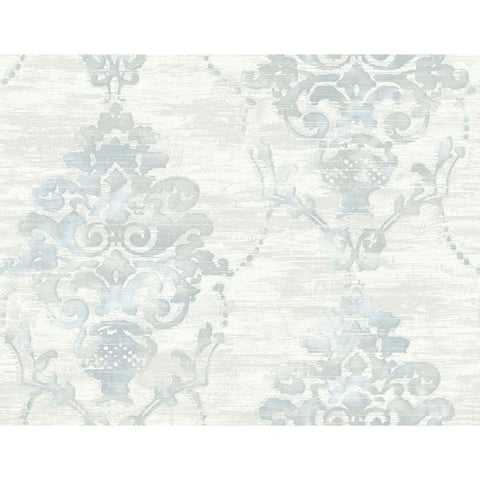 Damask Wallpaper in Blue, Grey, and Off-White from the French Impressionist Collection by Seabrook Wallcoverings