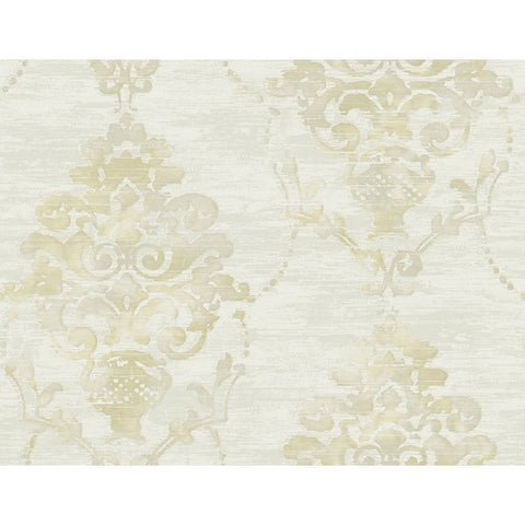 Damask Wallpaper in Off-White and Tan from the French Impressionist Collection by Seabrook Wallcoverings