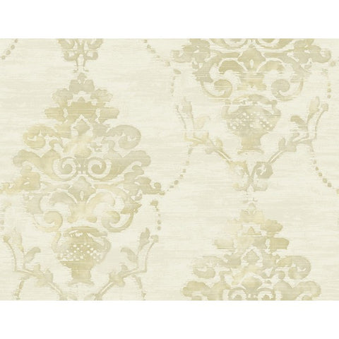 Damask Wallpaper in Tan and Off-White from the French Impressionist Collection by Seabrook Wallcoverings