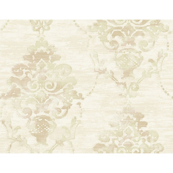 Sample Damask Wallpaper in Tan from the French Impressionist Collection by Seabrook Wallcoverings