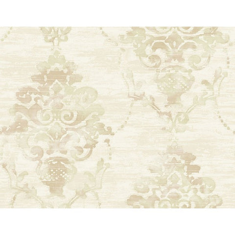 Damask Wallpaper in Tan from the French Impressionist Collection by Seabrook Wallcoverings