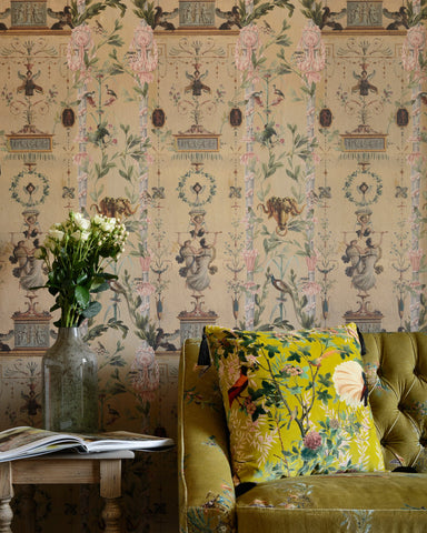 Dancing Graces Wallpaper in Pink and Sepia from the Wallpaper Compendium Collection by Mind the Gap