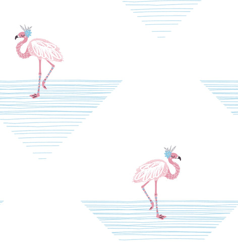 Dancing Flamingos Wallpaper in Fuchsia and Sky Blue from the Day Dreamers Collection by Seabrook Wallcoverings