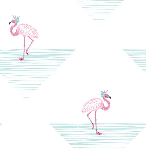 Dancing Flamingos Wallpaper in Fuchsia and Teal from the Day Dreamers Collection by Seabrook Wallcoverings