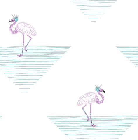 Dancing Flamingos Wallpaper in Teal and Lilac from the Day Dreamers Collection by Seabrook Wallcoverings