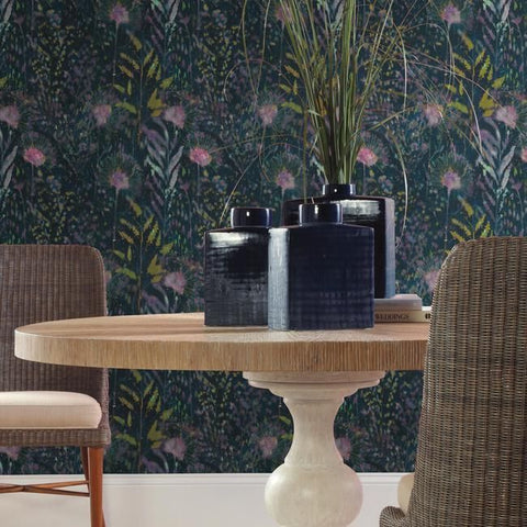 Dandelion Peel & Stick Wallpaper in Teal by RoomMates for York Wallcoverings