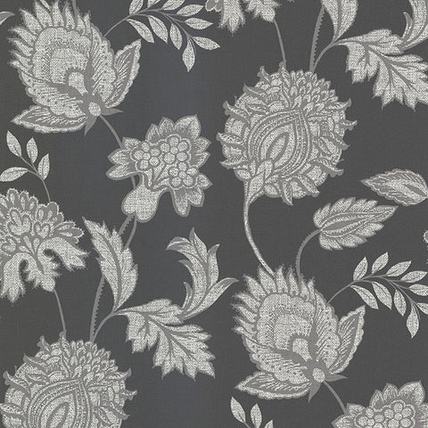 Danfi Black Jacobean Wallpaper from the Savor Collection by Brewster Home Fashions