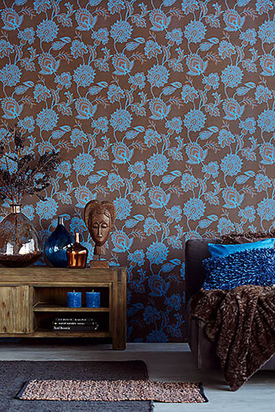 Danfi Blue and Brown Jacobean Wallpaper from the Savor Collection by Brewster Home Fashions