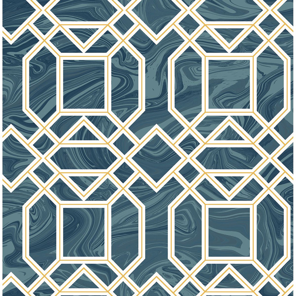 Daphne Trellis Wallpaper in Blue from the Moonlight Collection by Brewster Home Fashions