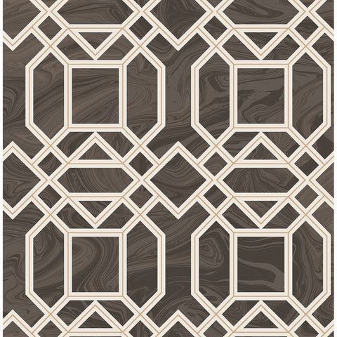 Daphne Trellis Wallpaper in Brown from the Moonlight Collection by Brewster Home Fashions
