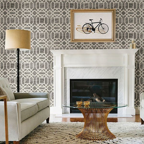 Daphne Trellis Wallpaper in Grey from the Moonlight Collection by Brewster Home Fashions