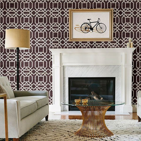 Daphne Trellis Wallpaper in Maroon from the Moonlight Collection by Brewster Home Fashions