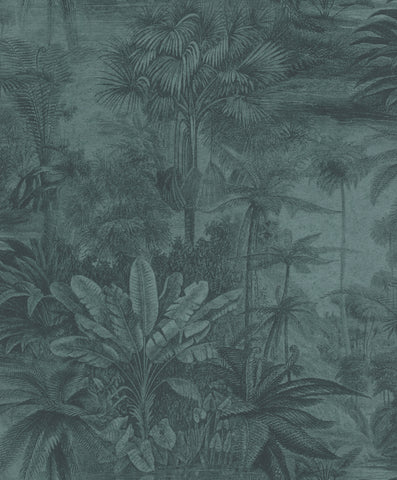 Sample Dark Blue Metallic Tropical Print Wallpaper by Walls Republic