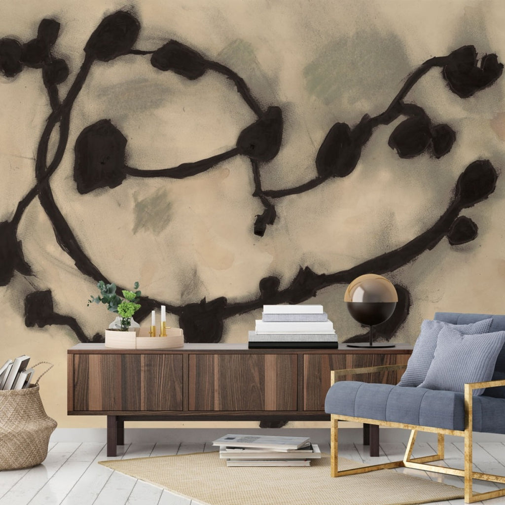 Dark Vines Self-Adhesive Wall Mural in Deep Night by Zoe Bios Creative for Tempaper