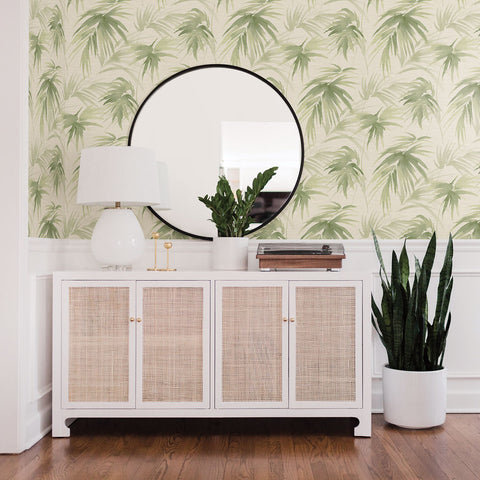 Darlana Grasscloth Wallpaper in Green from the Scott Living Collection by Brewster Home Fashions