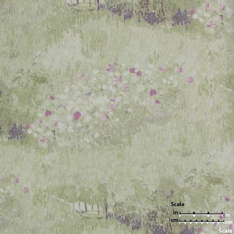 Daubigny's Garden Wallpaper in Light Green and Pink from the Van Gogh Collection by Burke Decor