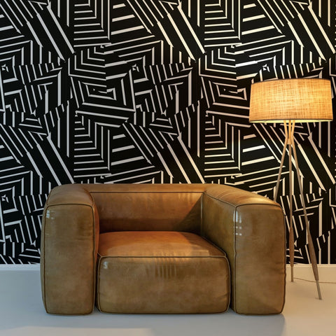 Dazzle Self Adhesive Wallpaper in Black and White by Bobby Berk for Tempaper
