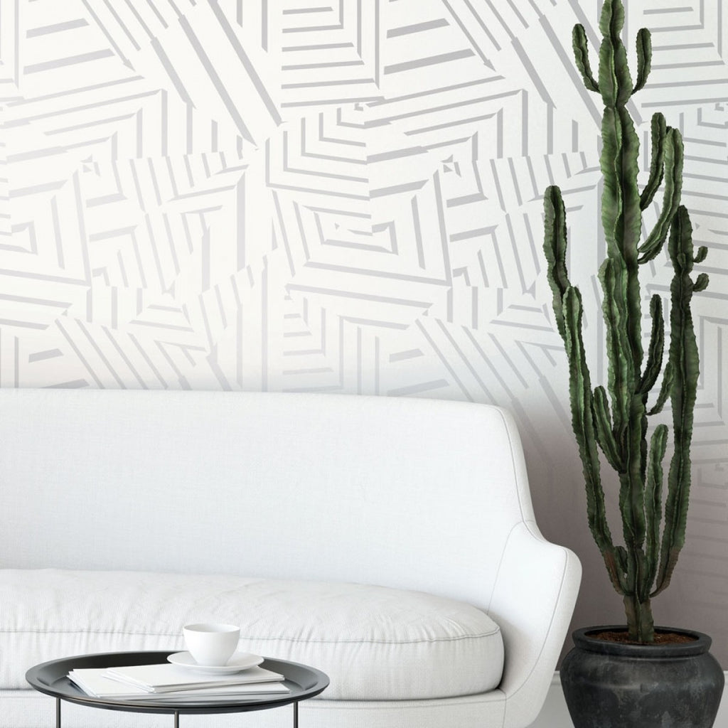 Dazzle Self Adhesive Wallpaper in White and Metallic Silver by Bobby Berk for Tempaper