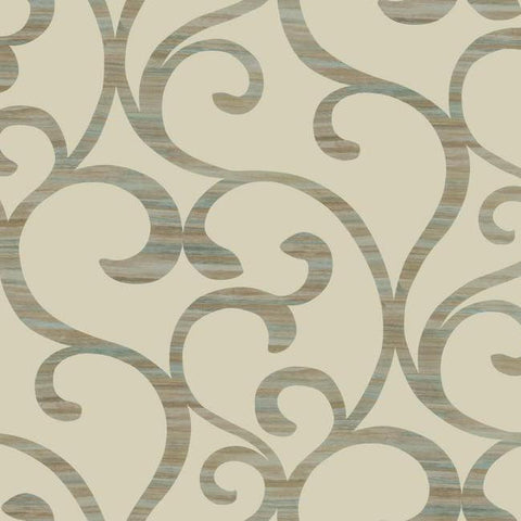 Dazzling Coil Wallpaper in Beige and Metallic Gold by York Wallcoverings