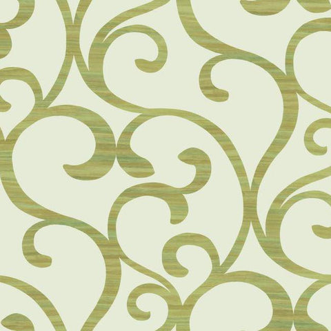 Dazzling Coil Wallpaper in Cream and Metallic Chartreuse by York Wallcoverings