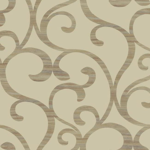 Dazzling Coil Wallpaper in Tan and Gold by York Wallcoverings