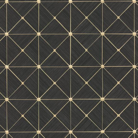 Dazzling Diamond Sisal Wallpaper in Black and Gold from the Geometric Resource Collection by York Wallcoverings