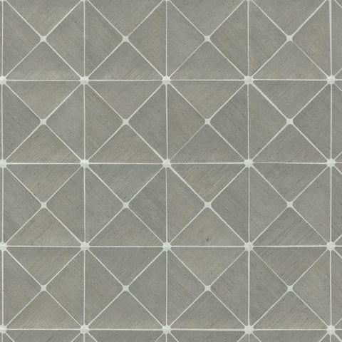 Dazzling Diamond Sisal Wallpaper in Grey and Silver from the Geometric Resource Collection by York Wallcoverings