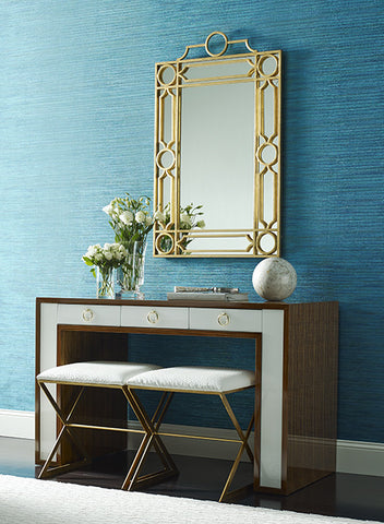 Dazzling Horizontal Stripe Wallpaper in Metallic Peacock Blue by York Wallcoverings