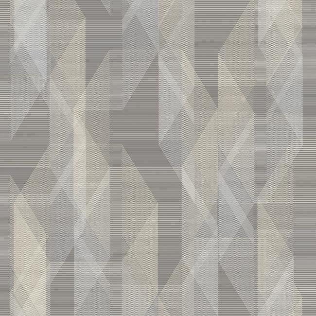 Sample Debonair Geometric Peel & Stick Wallpaper in Ivory and Grey by RoomMates for York Wallcoverings
