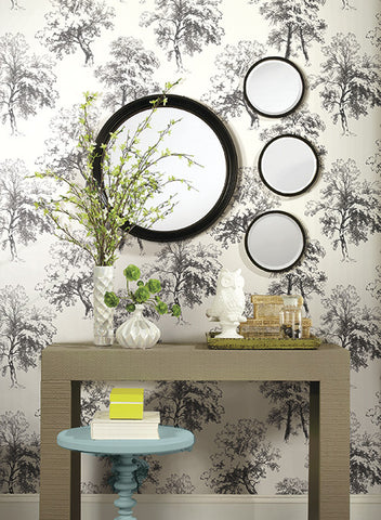 Deciduous Wallpaper in Black and White by Ashford House for York Wallcoverings