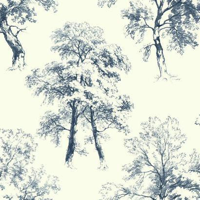 Deciduous Wallpaper in Blue by Ashford House for York Wallcoverings