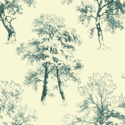 Deciduous Wallpaper in Dark Teal and Cream by Ashford House for York Wallcoverings