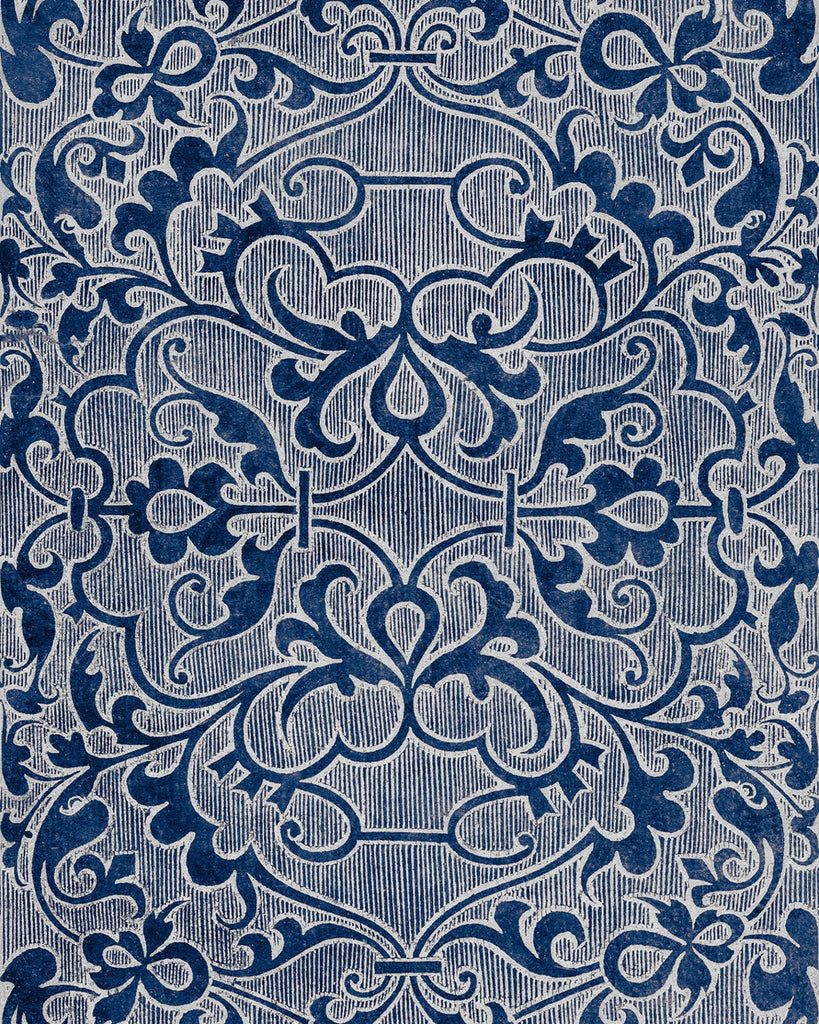 Sample Deco Trellis Wallpaper in Indigo from the Wallpaper Compendium Collection by Mind the Gap
