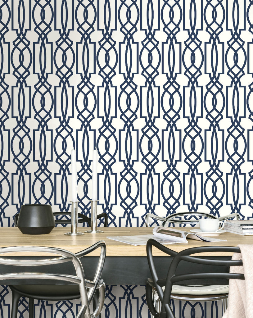 Deco Lattice Peel-and-Stick Wallpaper in Navy by NextWall