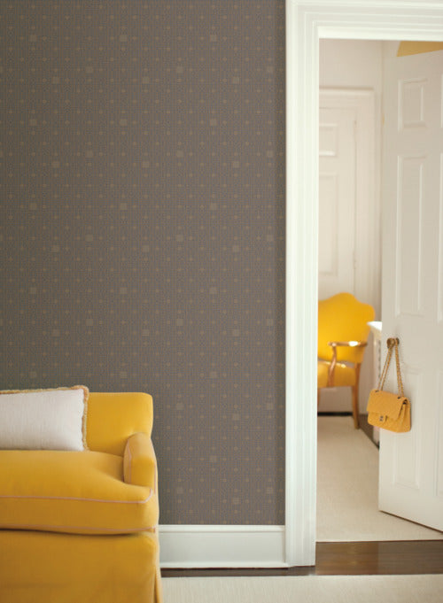 Deco Screen Wallpaper in Grey and Metallic from the Deco Collection by Antonina Vella for York Wallcoverings
