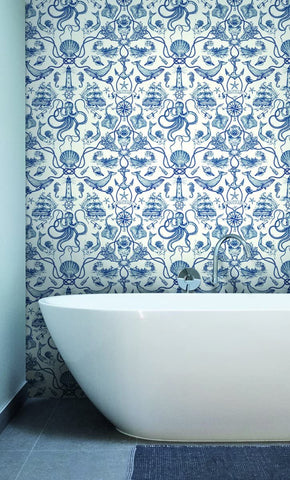 Deep Sea Toile Wallpaper in Blue from the Tailored Collection by York Wallcoverings