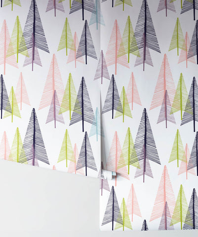 Deep In The Forest Wallpaper in Lime Pine from the Wallpaper Republic Collection by Milton & King