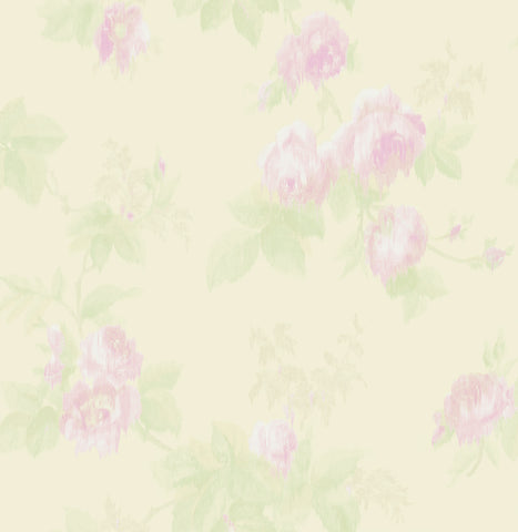 Degas Flowers Wallpaper in Cream and Purple from the Watercolor Florals Collection by Mayflower Wallpaper