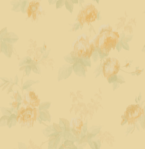 Degas Flowers Wallpaper in Gold and Green from the Watercolor Florals Collection by Mayflower Wallpaper