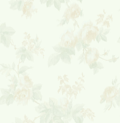 Degas Flowers Wallpaper in Green and Cream from the Watercolor Florals Collection by Mayflower Wallpaper
