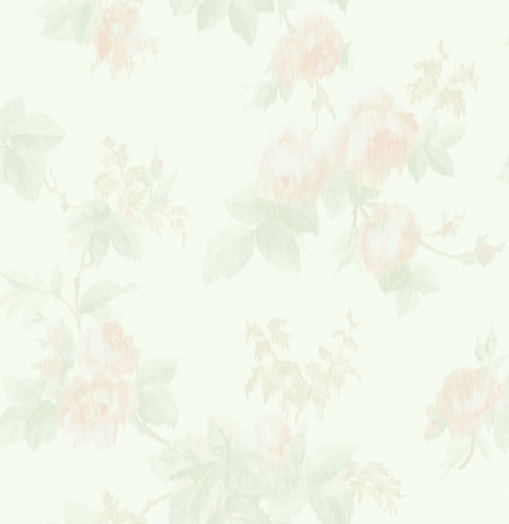 Degas Flowers Wallpaper in Ivory and Blush from the Watercolor Florals Collection by Mayflower Wallpaper