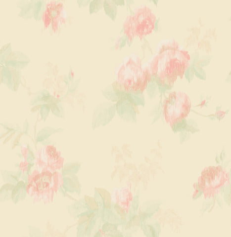 Degas Flowers Wallpaper in Pink and Cream from the Watercolor Florals Collection by Mayflower Wallpaper
