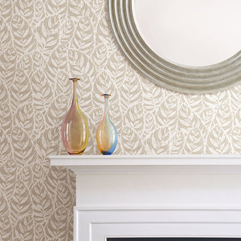 Del Mar Botanical Wallpaper in Beige from the Scott Living Collection by Brewster Home Fashions