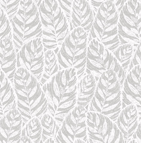 Del Mar Botanical Wallpaper in Grey from the Scott Living Collection by Brewster Home Fashions