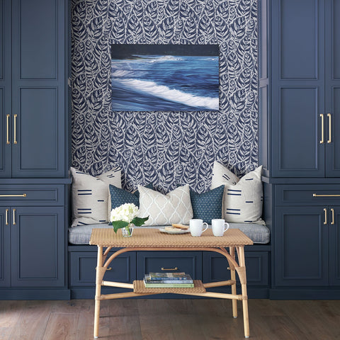 Del Mar Botanical Wallpaper in Indigo from the Scott Living Collection by Brewster Home Fashions