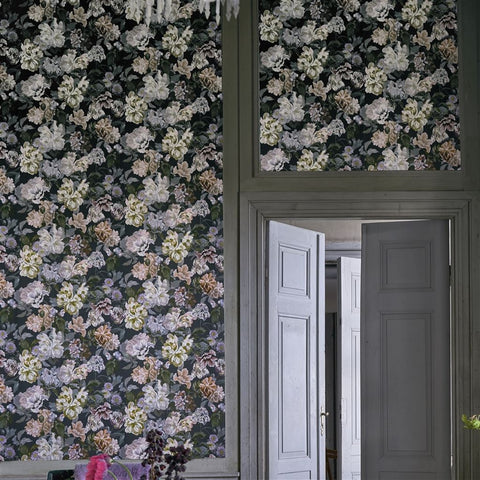 Delft Flower Wallpaper in Charcoal from the Tulipa Stellata Collection by Designers Guild