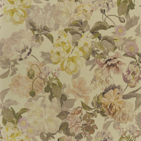 Delft Flower Wallpaper in Gold from the Tulipa Stellata Collection by Designers Guild