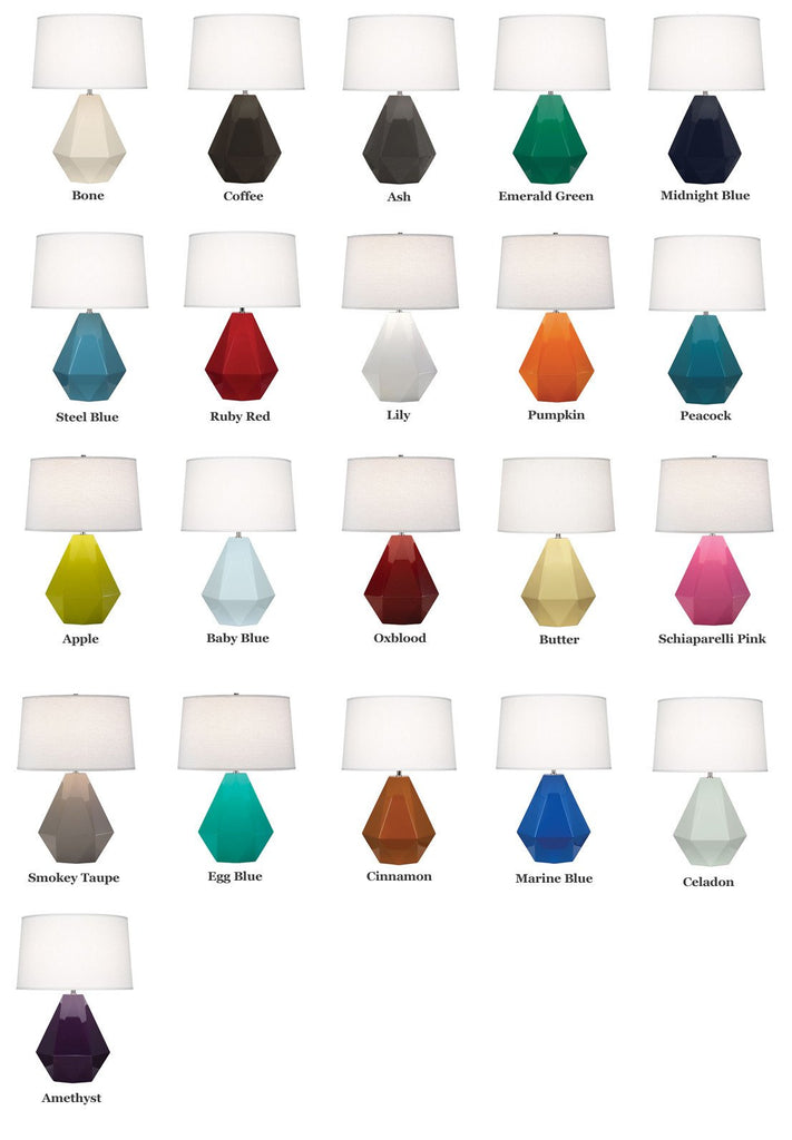 Delta Table Lamp (Multiple Colors) with Oyster Linen Shade design by Robert Abbey