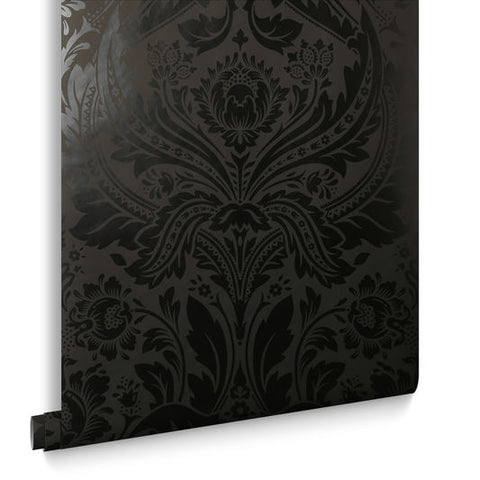 Desire Wallpaper in Black from the Exclusives Collection by Graham & Brown